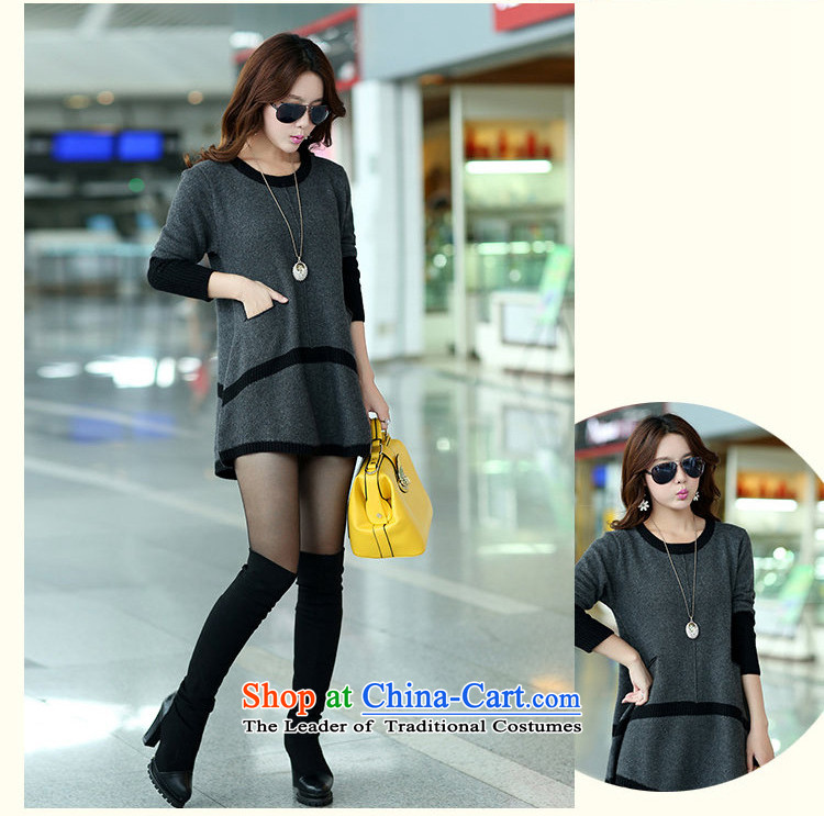 Elizabeth sub-2015 autumn and winter new to increase women's code in long thick MM Winter Sweater, forming the sleek and versatile sweater m9156XXXL Gray Photo, prices, brand platters! The elections are supplied in the national character of distribution, so action, buy now enjoy more preferential! As soon as possible.