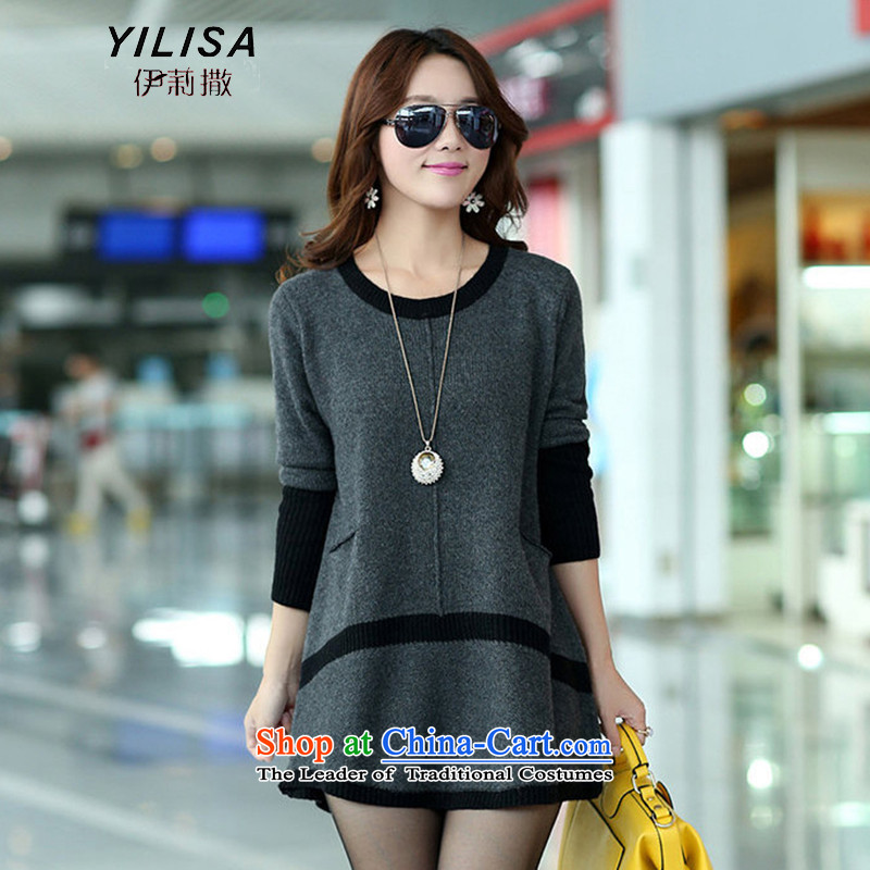 Elizabeth sub-2015 autumn and winter new to increase women's code in long thick MM Winter Sweater, forming the sleek and versatile sweater m9156 gray XXXL, Elizabeth YILISA (sub-) , , , shopping on the Internet