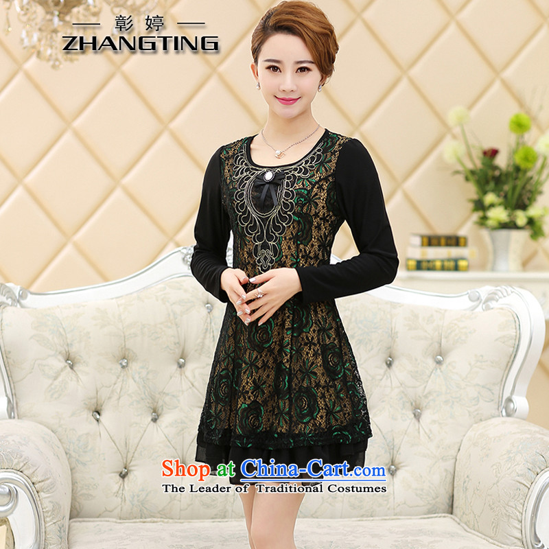 Chang Ting autumn and winter new large middle-aged women with long-sleeved Sau San dresses T1177 green. XXL