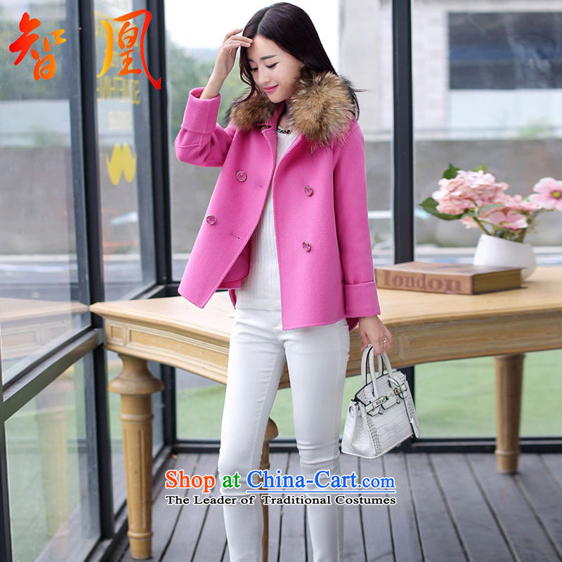 Leong for wool coat jacket women 2015 will fall and winter new Korean small incense wind really temperament gross for a wool coat loose Sau San short jacket, larger women A BETTER RED M