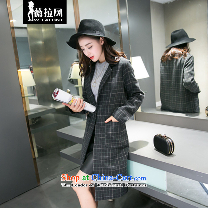 Vera wind 2015 autumn and winter New Korea long-sleeved Pullover England stylish medium to long term, Sau San retro latticed wool coat gross? coats? female Haig燤