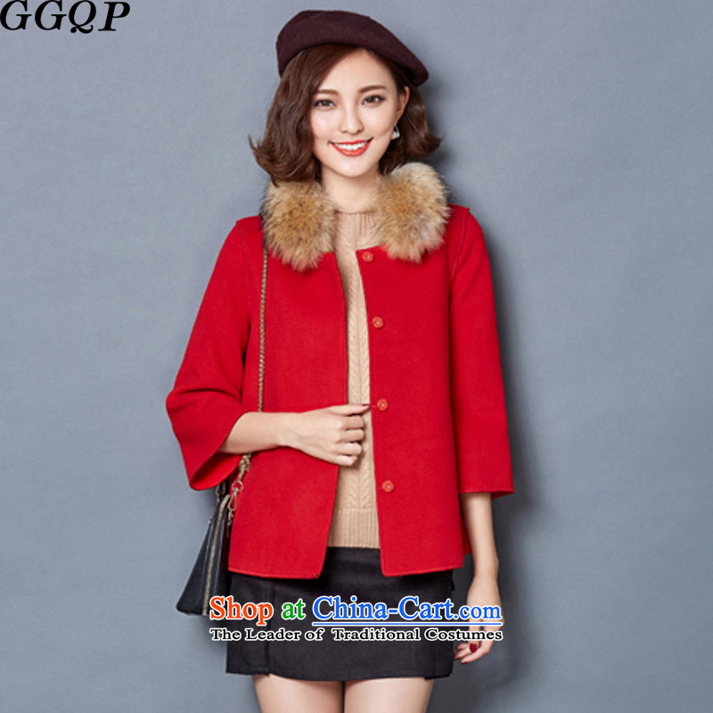 Larger shawl GGQP cloak short of the amount? female thick cotton folder jacket for children? coats gross red XXL
