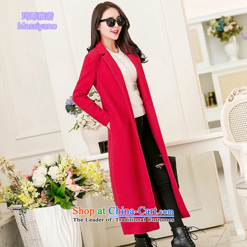 Hayek Jarno 2015 autumn and winter, Korean collar long wool coat girl in a long, thick-Sau San long coat RED M