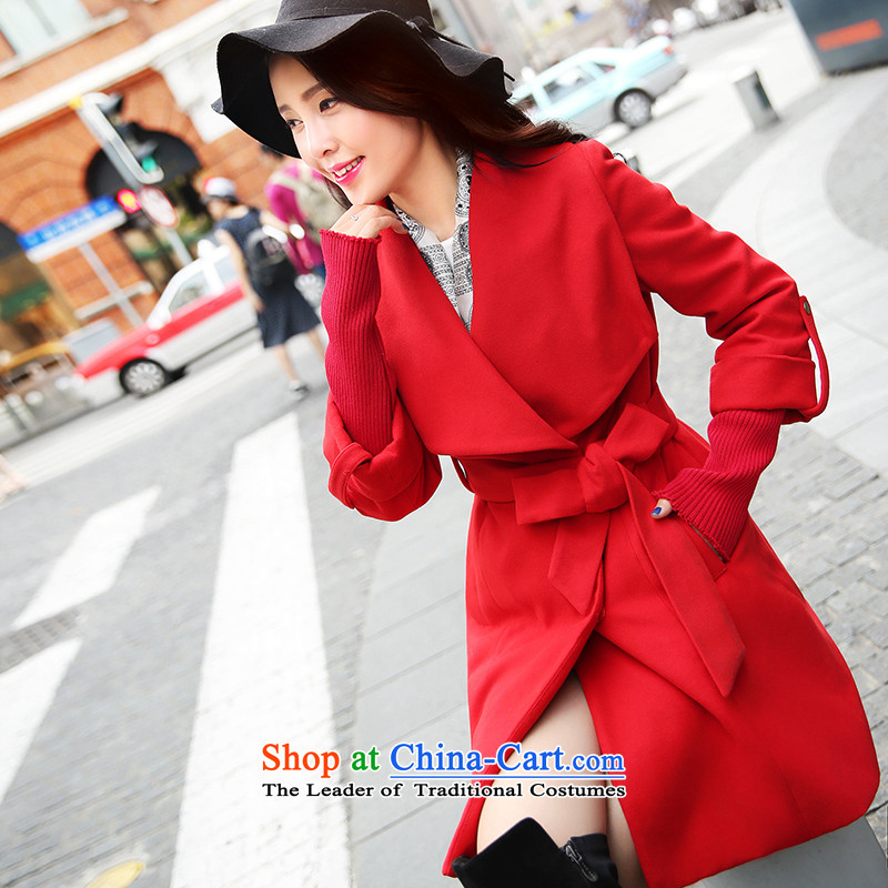 Park woke up to 2015 winter clothing new Korean fashion temperament lapel of     in the long hair? jacket female red燲L