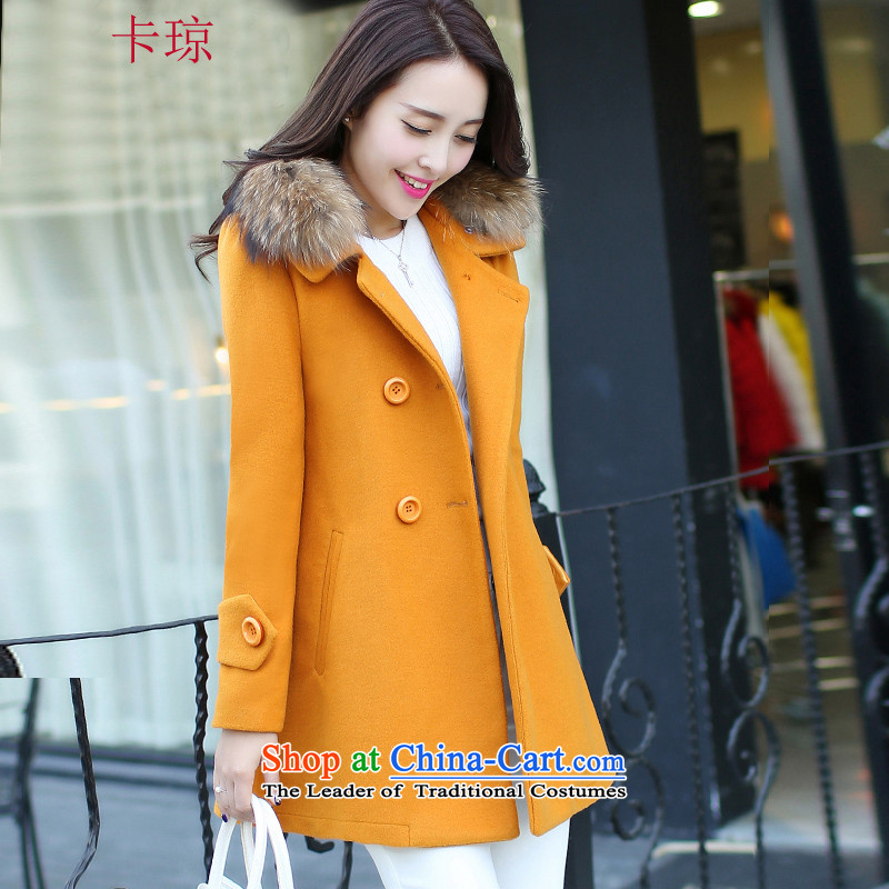 Cachon�15 Fall_Winter Collections new Korean fashion in the double-long hair? coats female wild jacket Yellow燤