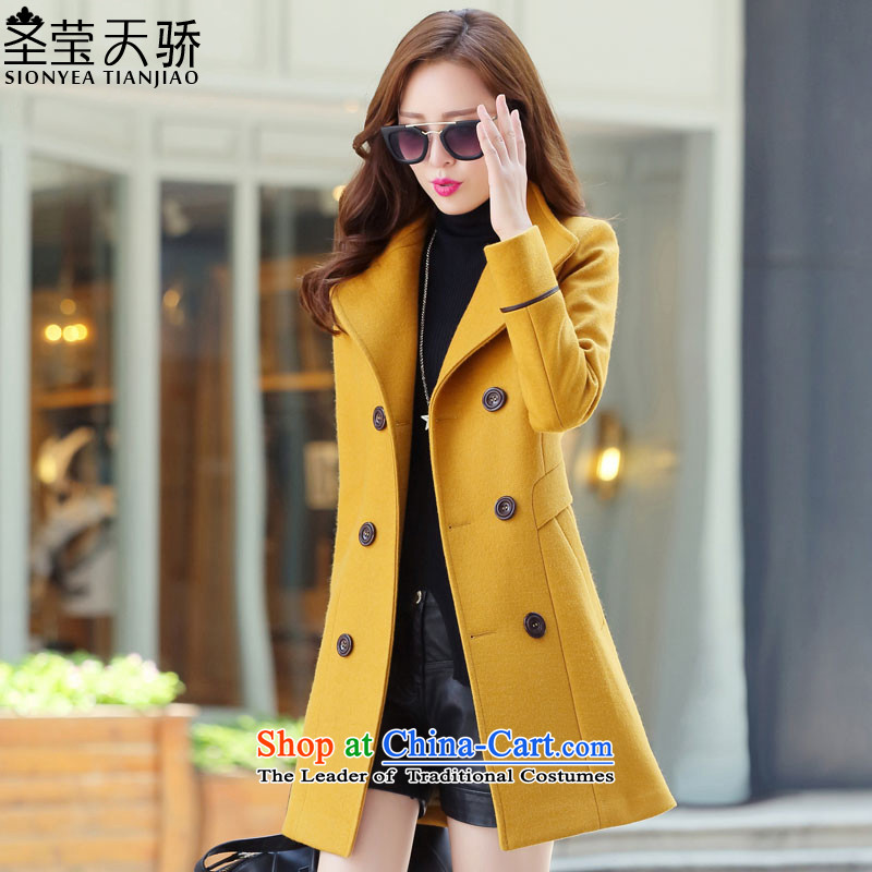 The holy day average 2015 Ying autumn and winter new larger gross? Long butted Sau San a wool coat S615 YELLOW?L