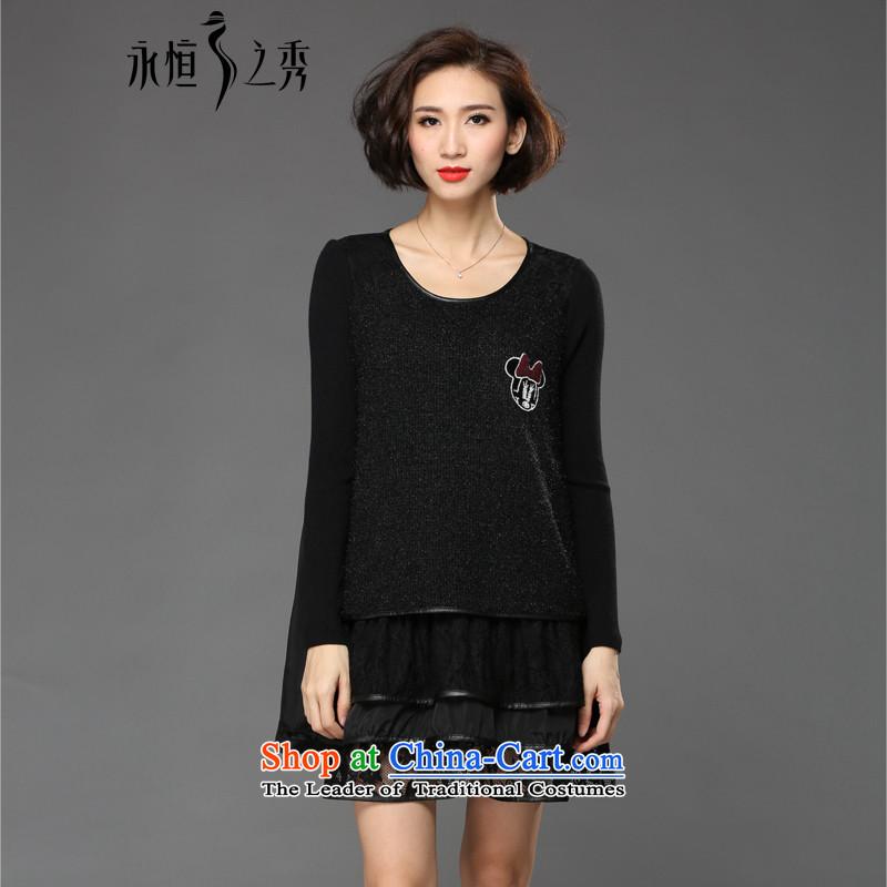 The Eternal Soo-eternal Sau 2015 large female winter clothing stylish lace dresses black4XL