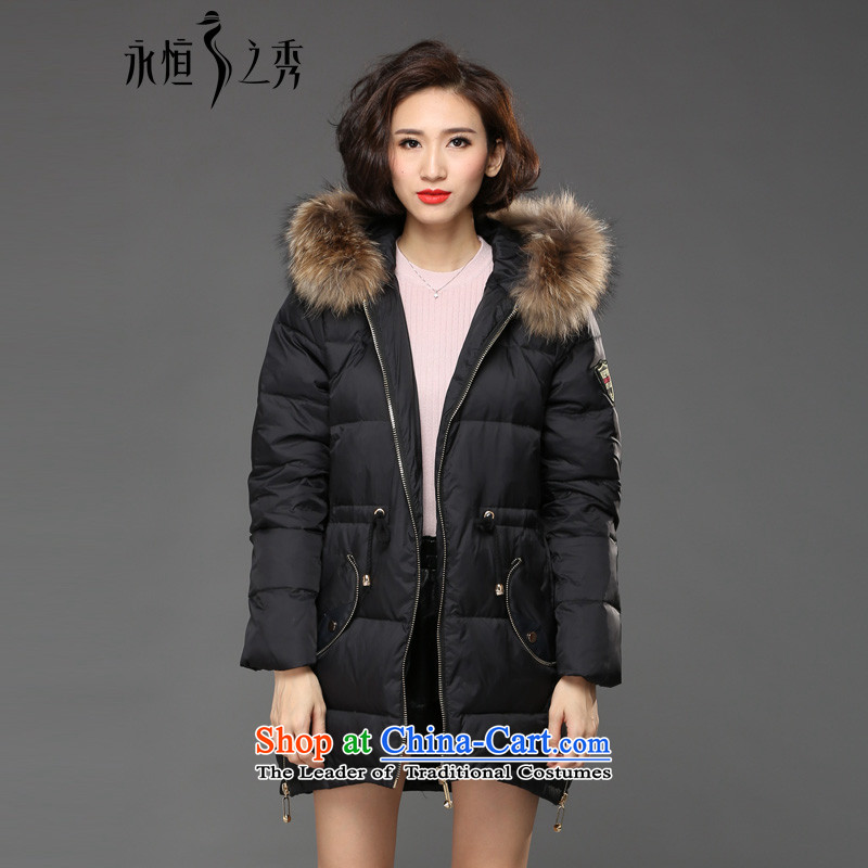 The Eternal Soo-to increase women's code cotton coat jacket thick mm2015 sister winter clothing new thick, Hin gross for the thin cotton waffle cap jacket coat black 4XL