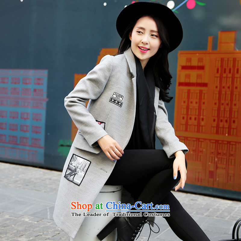 Park woke up to 2015 winter clothing new Korean style and simplicity in Sau San long autumn and winter coats female gray hair?燤