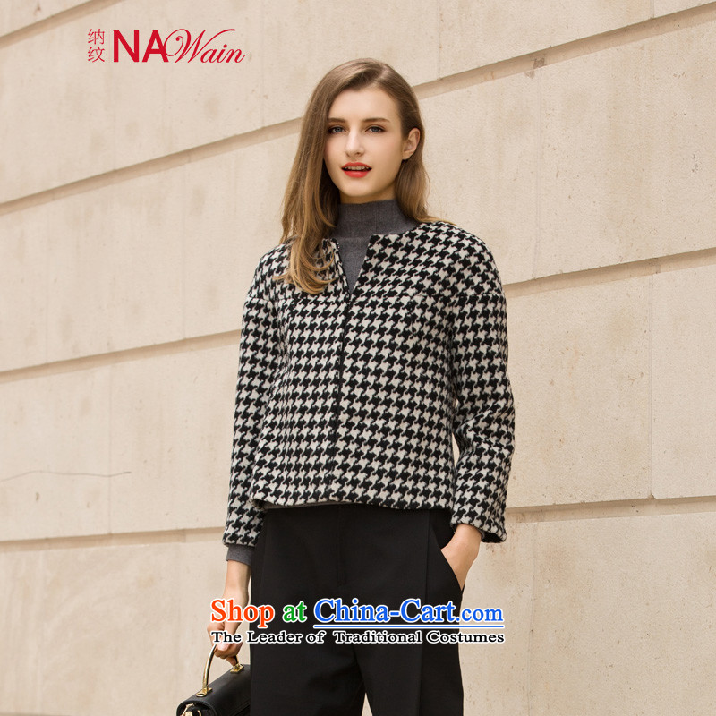 The tattoo 2015 winter clothing New Chin, little wind down the Champs Elysees gross? rotator cuff short, coats N54308I female black and whiteL