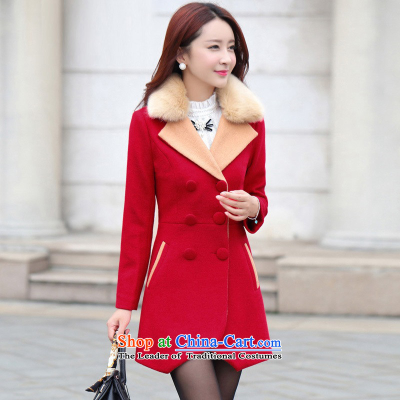 November 11 Days (Special Limited time offers as soon as possible new autumn and winter 2015 for women in Korean long coats coats female GD9978 gross? red L