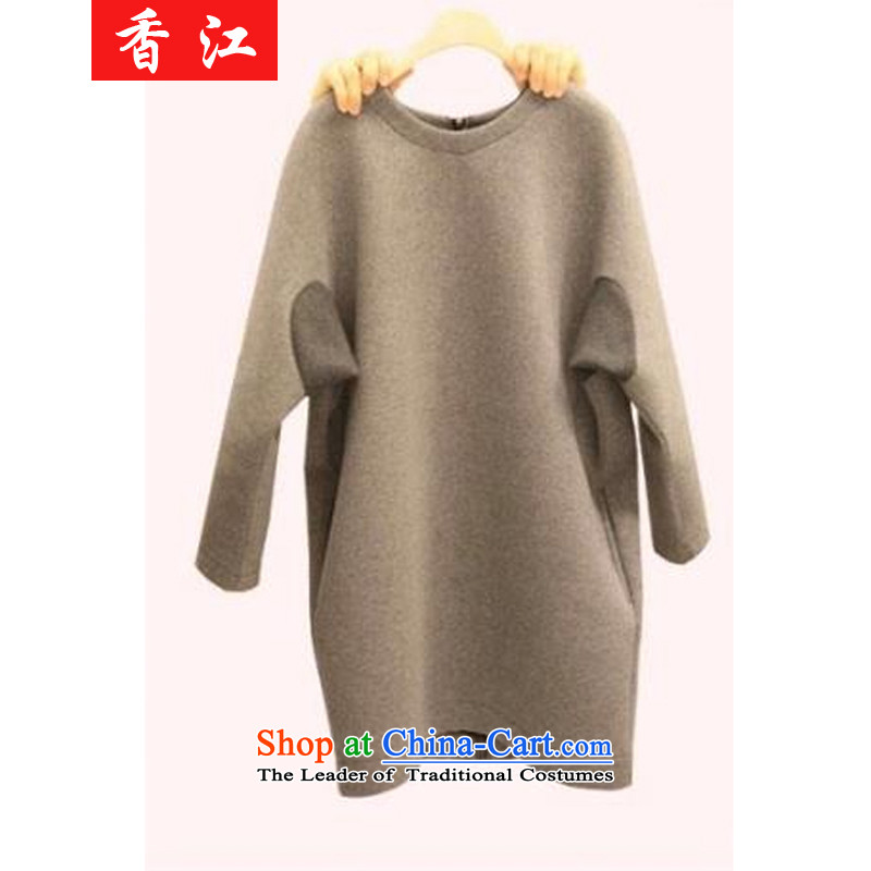 Xiang Jiang thick mm 2015 Fall_Winter Collections new xl thick girls' Graphics thin, dresses thick cotton forming the burden of sister 200 T-shirt 5776 Light Gray large 3XL