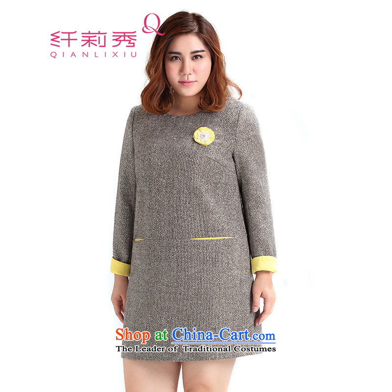 The former Yugoslavia Li Sau 2015 Fall_Winter Collections new larger female knocked color flip side gold wire mash-long-sleeved long-sleeved dresses 0736 light coffee3XL