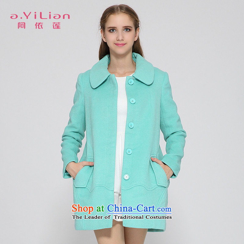 A yi wu 2015 autumn and winter new pure color wild Sweet child for video-based thin coat jacket women wool? CA44197423 mint green S