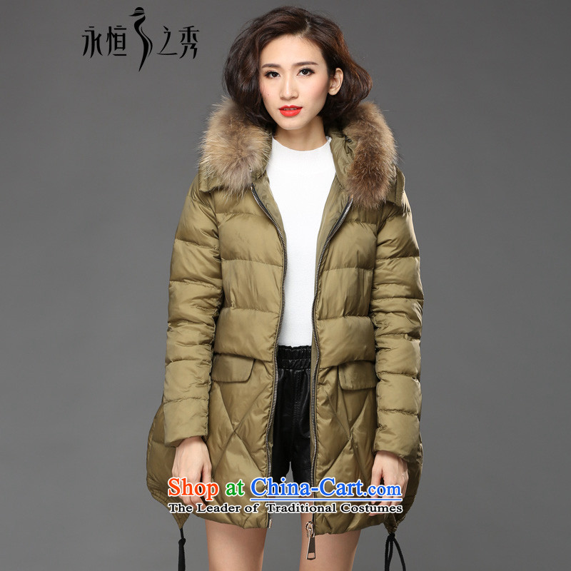 The Eternal Soo-XL female cotton coat jacket thick mm2015 sister winter clothing new Western gross cotton plus thickened neckties cap to increase cotton jacket army green _pre-sale 7 day shipping 3XL_