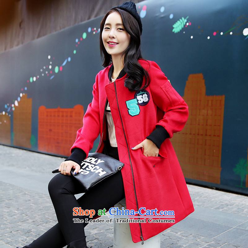 Park woke up to 2015 winter clothing new Korean fashion round collar workers in long hair?? coats female red jacket燲L