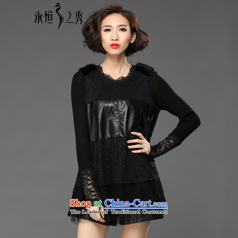 The Eternal Soo-eternal Sau 2015 large women on new stylish look of winter clothes black (pre-sale 7 day shipping 3XL)