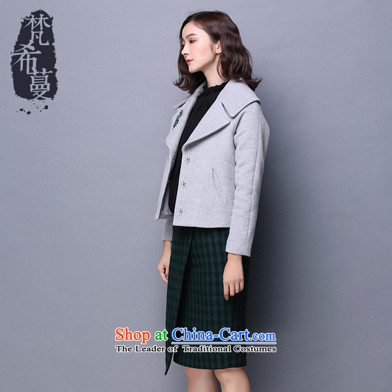 Van Gogh Greek Golden Harvest autumn and winter 2015 new minimalist temperament pure color large lapel gross? fine coats embroidered short of wool coat? 66017??gray?S