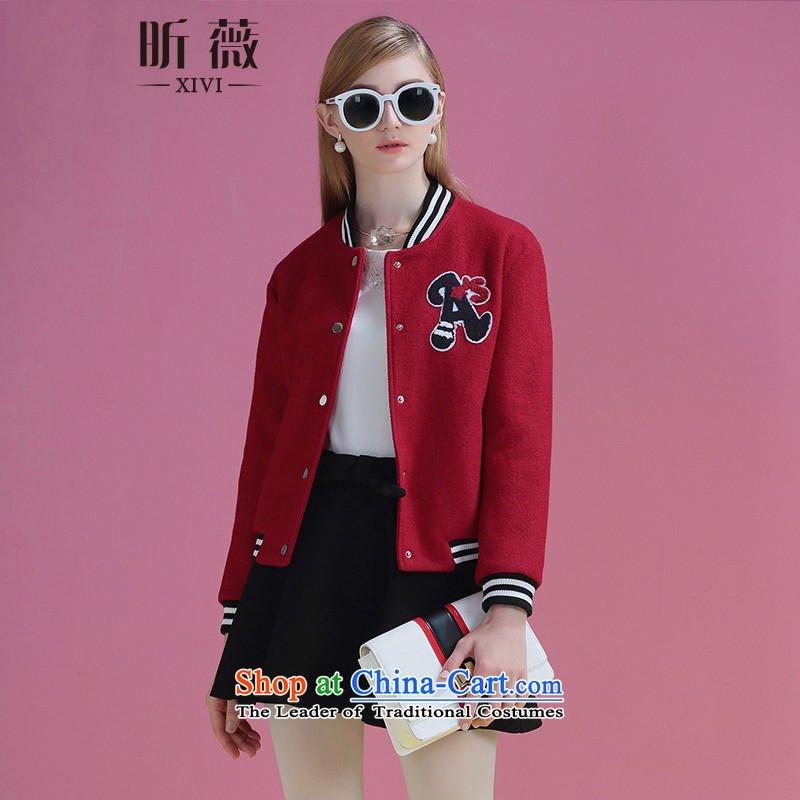 Ms Audrey Eu xivi xin gross? jacket women 2015 Winter New Europe long-sleeved thick letter loose collar baseball services Y754037 red燬