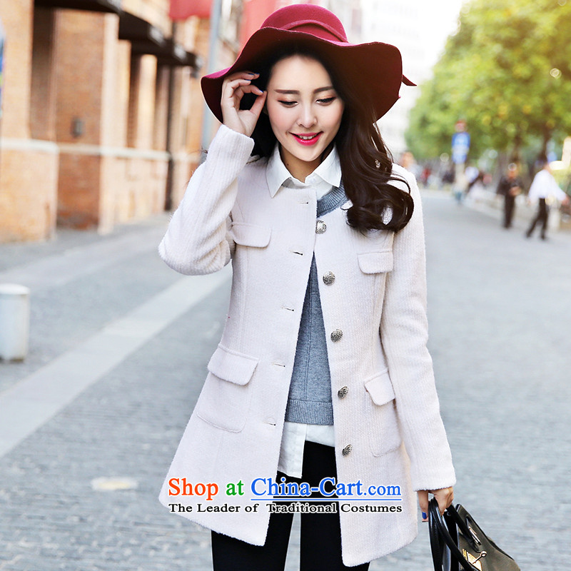 The paradise of the awakening 2015 winter new Korean fashion, Sau San long neck hair? female m White燬 Jacket