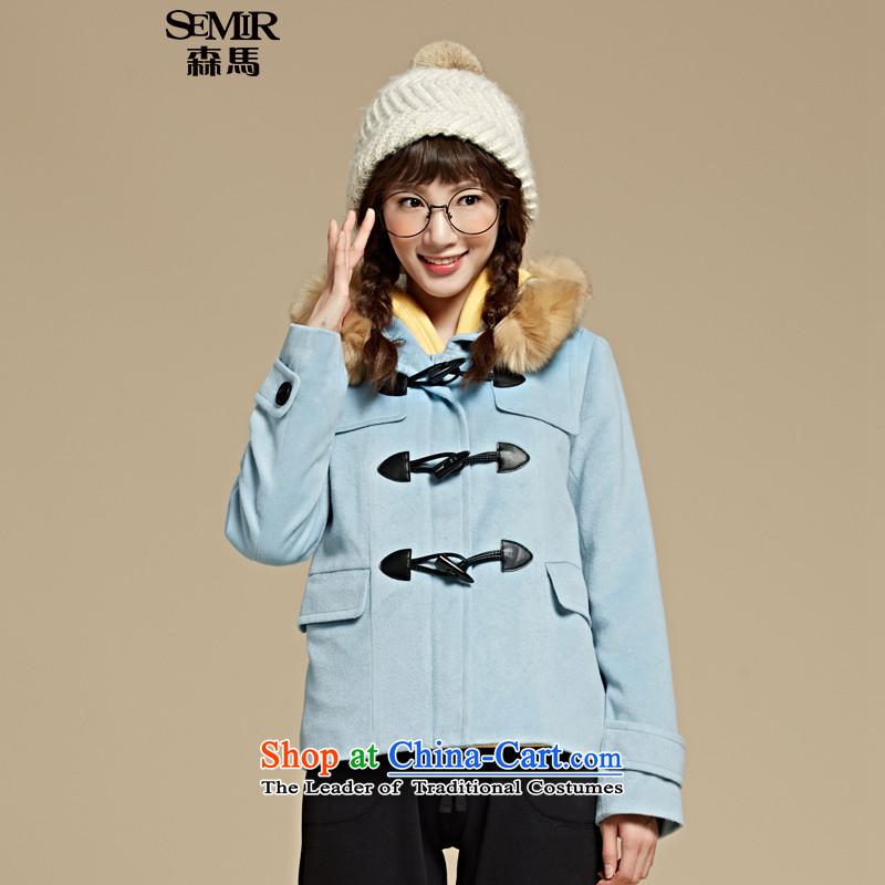 Sum horsehair jackets for爓inter 2015 Ms. new cap coats leisure pure colors? Straight Jacket Korean Denim blue 8300 L