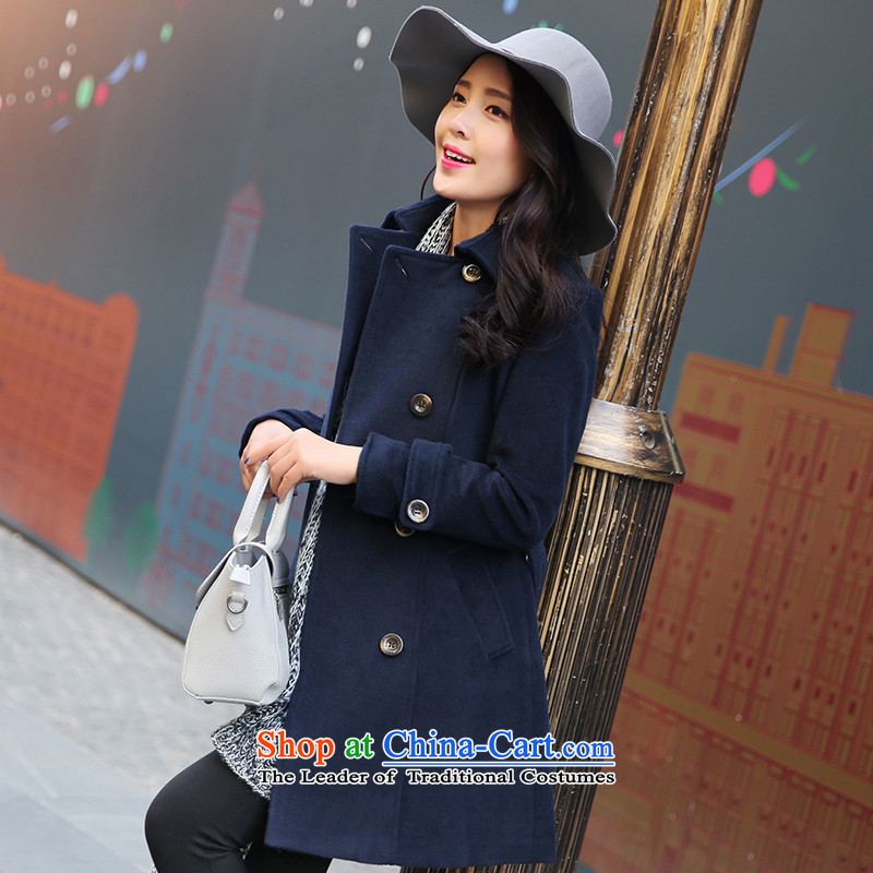 Park woke up to 2105 winter clothing new Korean Modern graphics in Sau San thin long hair? jacket coat? Navy M