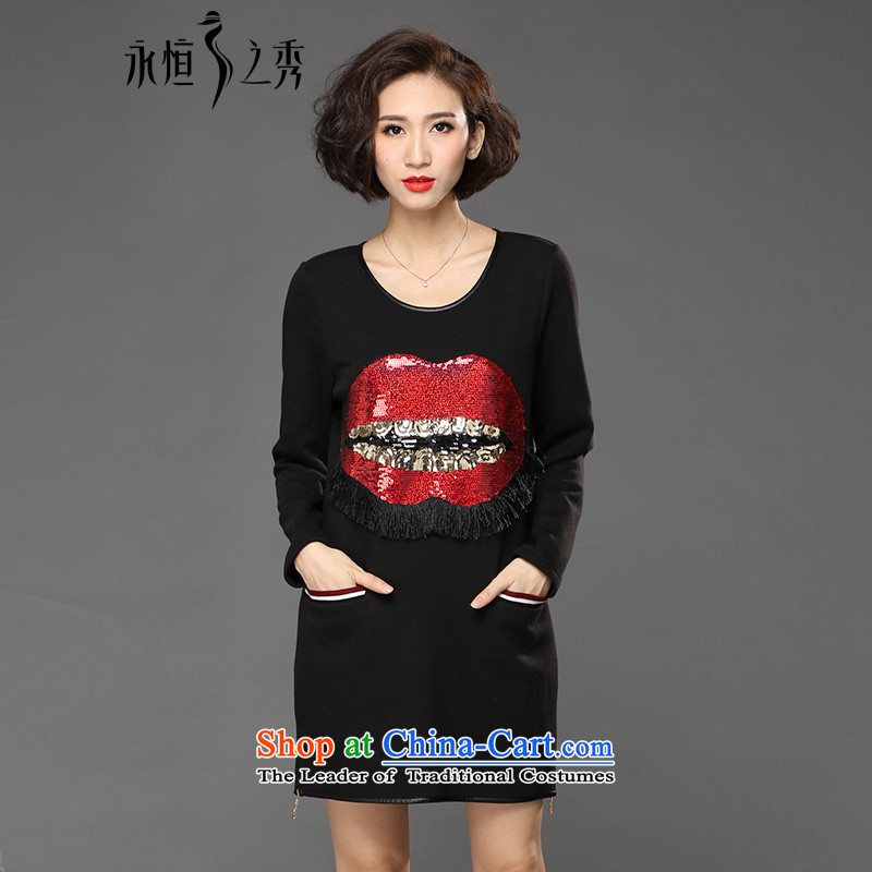 The Eternal Sau 2015 large female winter clothing, forming the sister shirt personality thick lips on thick MM black skirt _pre-sale 7 day shipping 3XL_