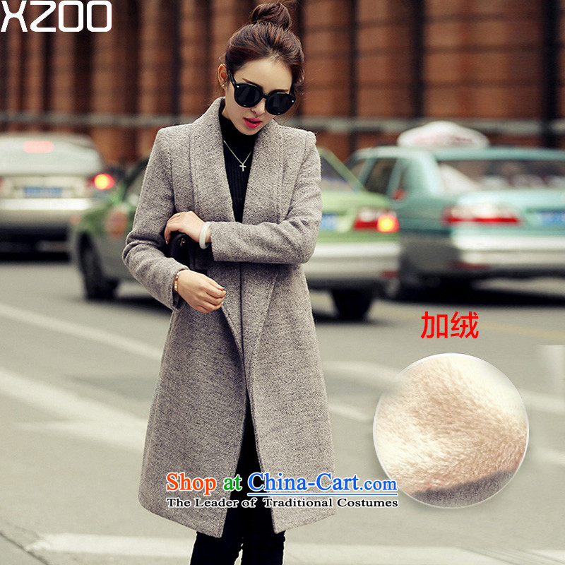 Wool coat women XZOO? a jacket in long winter 2015 new gray _M_ lint-free