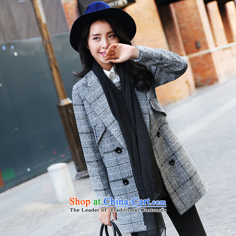 Park woke up to 2015 winter clothing new Korean fashion suits for Sau San double-jacket female gray hair?燬