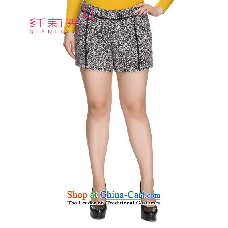 The former Yugoslavia Li Sau 2015 winter clothing new larger women's fashion, the lace decorated waist? Warm outside ground shorts 0916 female black33