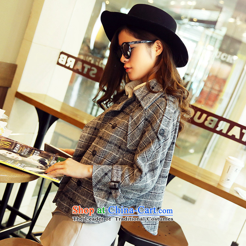 Park woke up to 2015 winter clothing new Korean style suit collar short of small cloak-jacket female gray hair? M