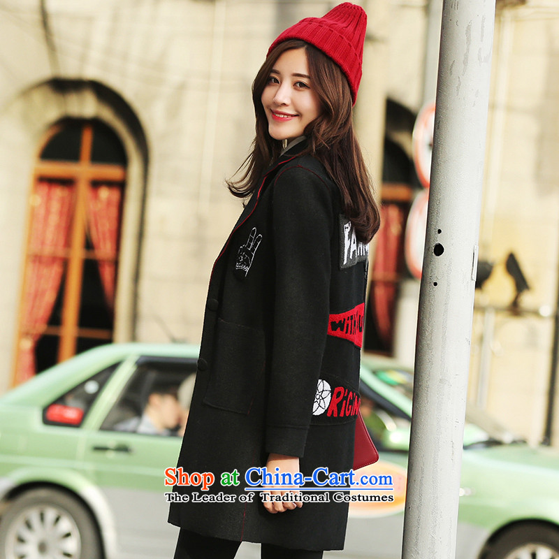 Park woke up to 2015 winter clothing new Korean style and simplicity in Sau San long autumn and winter coats female Black Hair?燤
