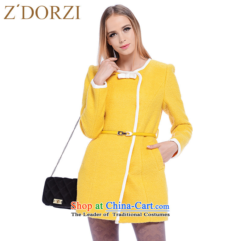 Colorful small Cheuk ZDORZI Heung-bow tie coats that long hairs?    ? female�8292爈ight yellow jacket燣