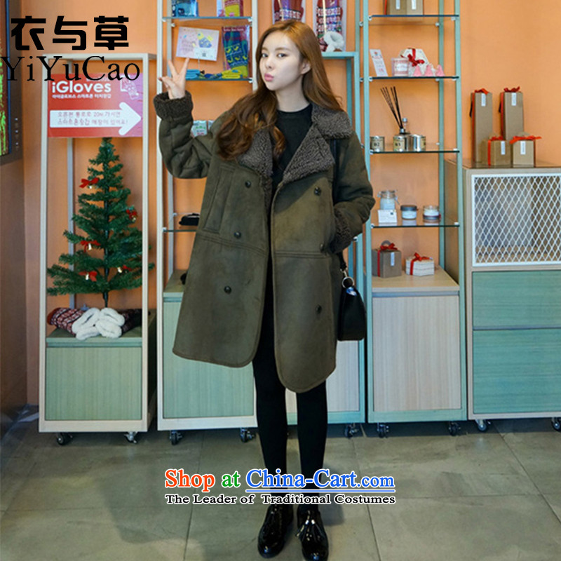 Yi with grass women on new coats winter? 2015 New Fall/Winter Collections in long Sau San for larger women's gross jacket coat Connie? a wool coat mn41 Army Green XL