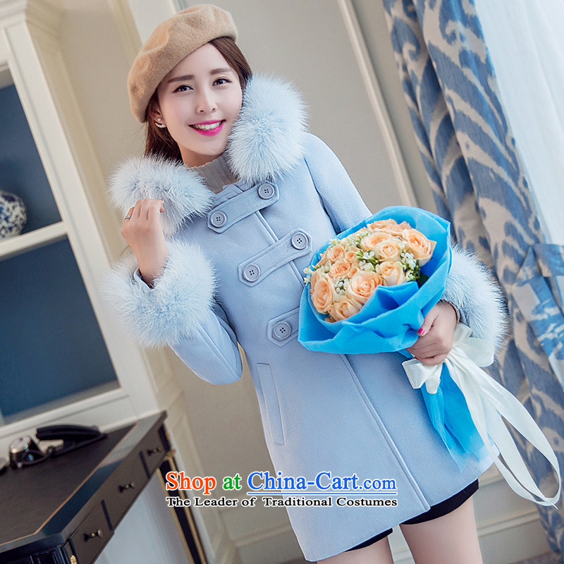 The paradise for winter 2015 new product version won Sau San stylish nagymaros collar cap gross?? S Blue Coat Jacket