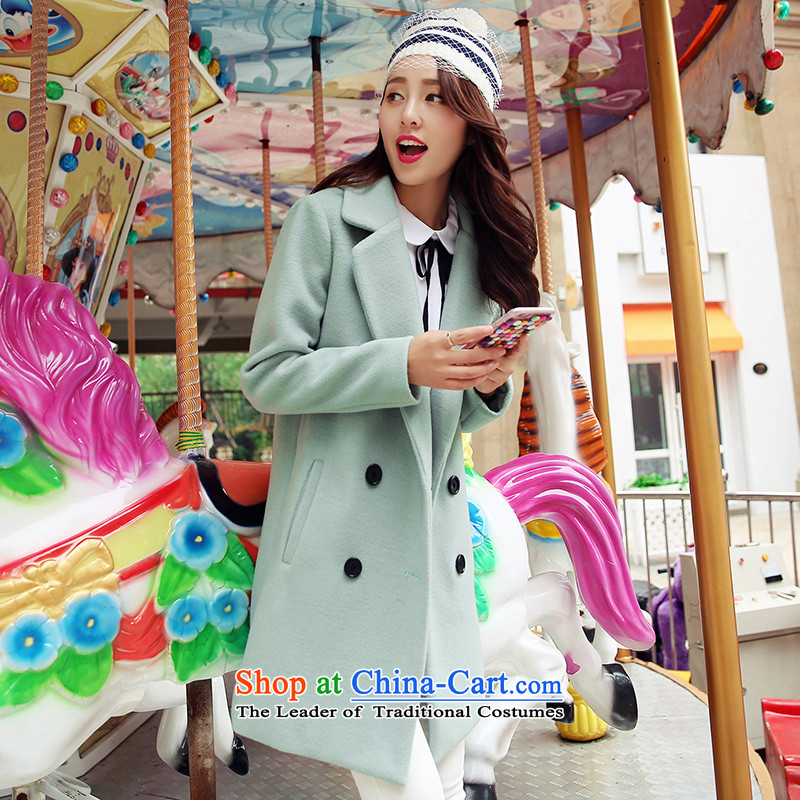 The paradise for winter 2015 new product version won gross? coats of Sau San Stylish coat jacket? gross light green L