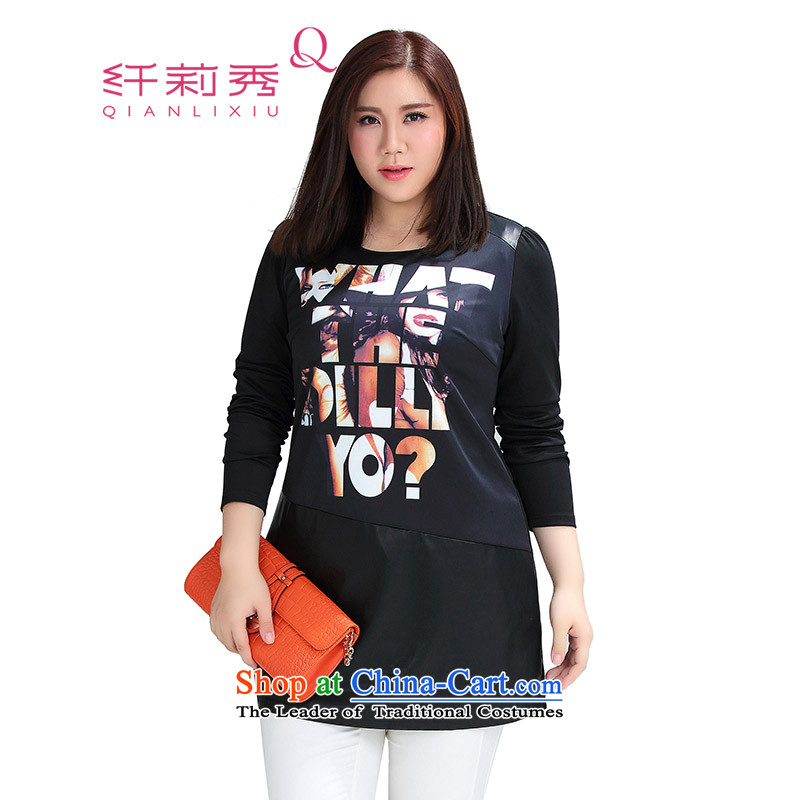 The former Yugoslavia Li Sau 2015 Fall_Winter Collections new larger female round-neck collar stamp PU stitching graphics slender TEE female black�L 0866