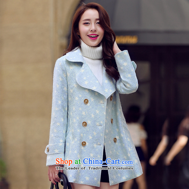 Park woke up to 2015 winter coats new wool? female Korean Sau San wool a wool coat jacket blue聽S