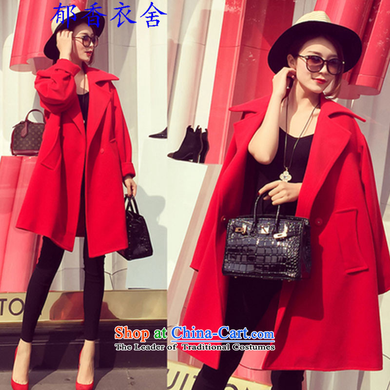 Yu Xiang Yi homes by 2015 west to the new big small red side marker-video thin woolen coat jacket wool red XL