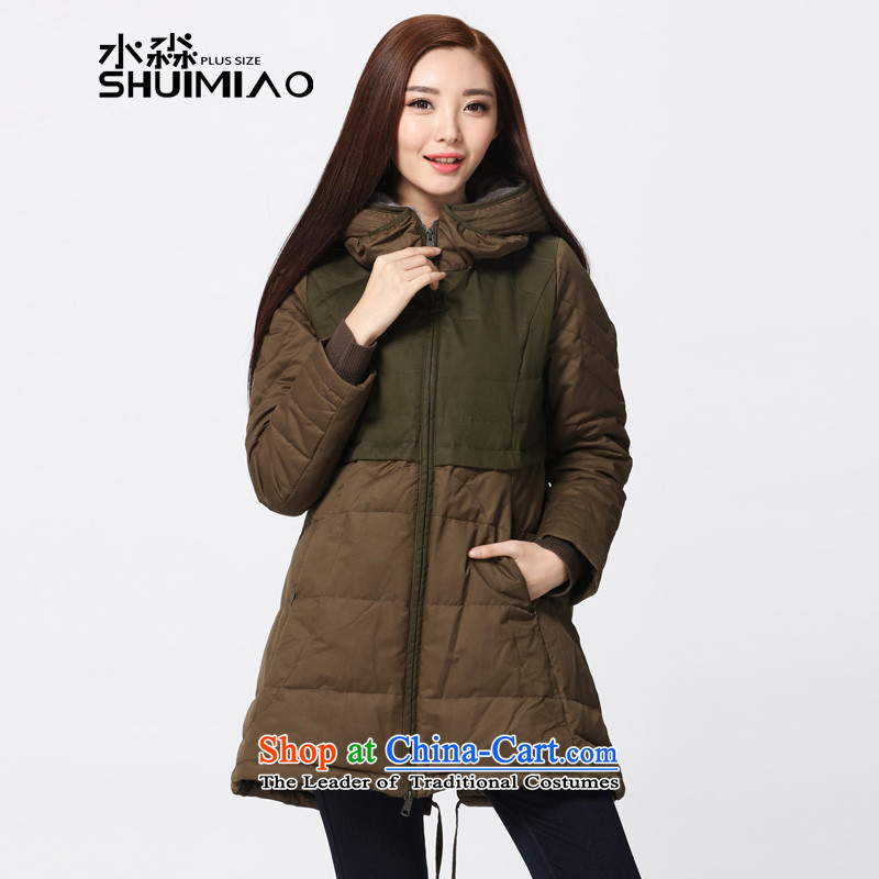 The representative of the water for larger 2015 Female Cap down the girl in the long winter coats of Sau San Thick Green 3XL S15DO5751 mustard