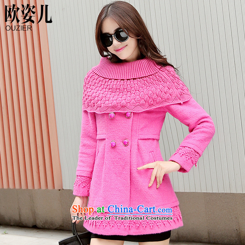 Gigi Lai Yee�15 OSCE autumn and winter new Korean stitching lace coats, wool? long wool a jacket Sau San rose red