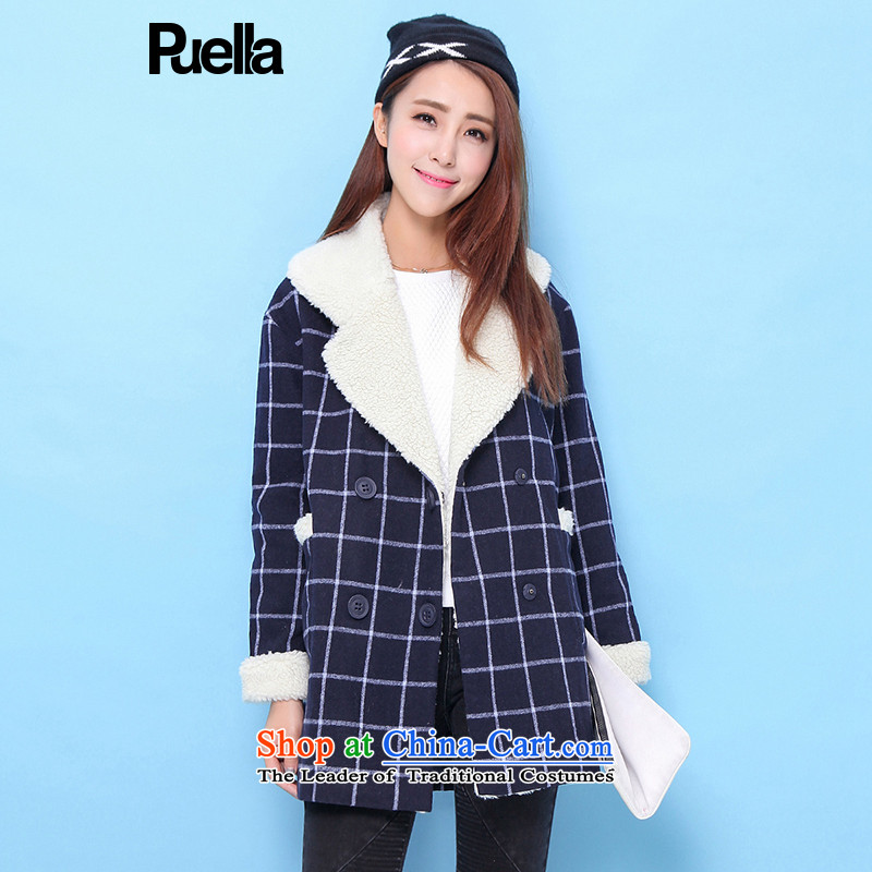 La Chapelle puella2015 winter new grid color mixer large lapel balangjie-gross navy female coat? S