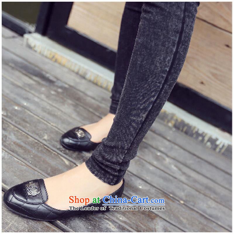 Extra-thick mm spring and autumn ladies pants with Korean version, forming the thin trousers thick sister 200 catties jeans pants black large code castor XXXXXL., Mak taxi benefit has been pressed shopping on the Internet