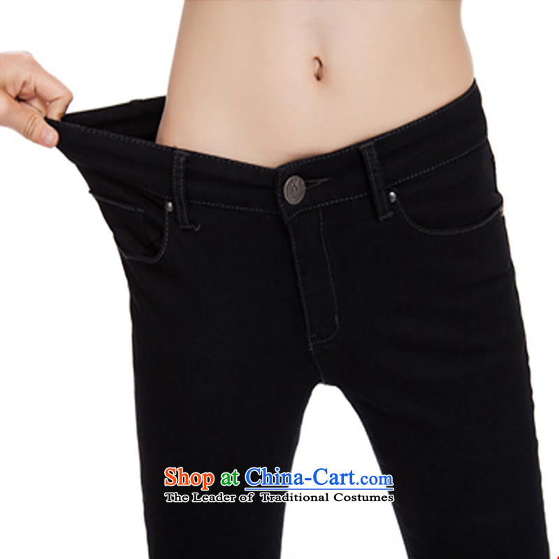 Extra to increase the burden of thick mm200 sister video women high elasticity thin trousers high pop-jeans black5XL Sau San