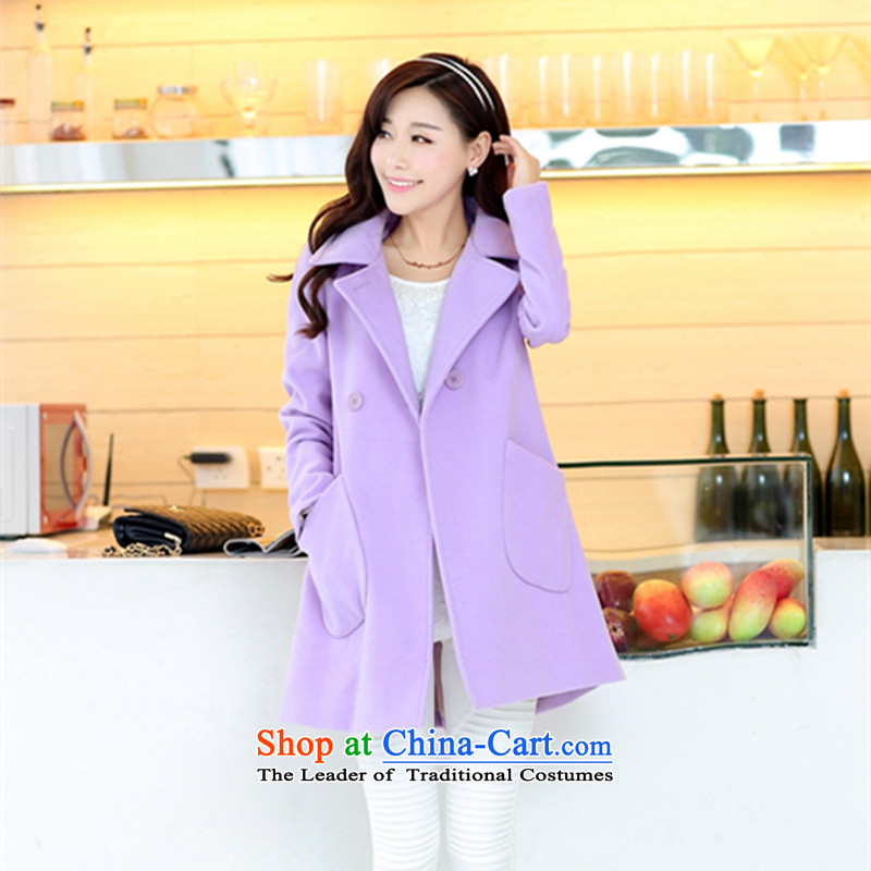 Highlight the language of燼utumn and winter 2015 position the new Korean version of large numbers of female graphics thin long in Sau San lapel a wool coat gross wind jacket purple?燤