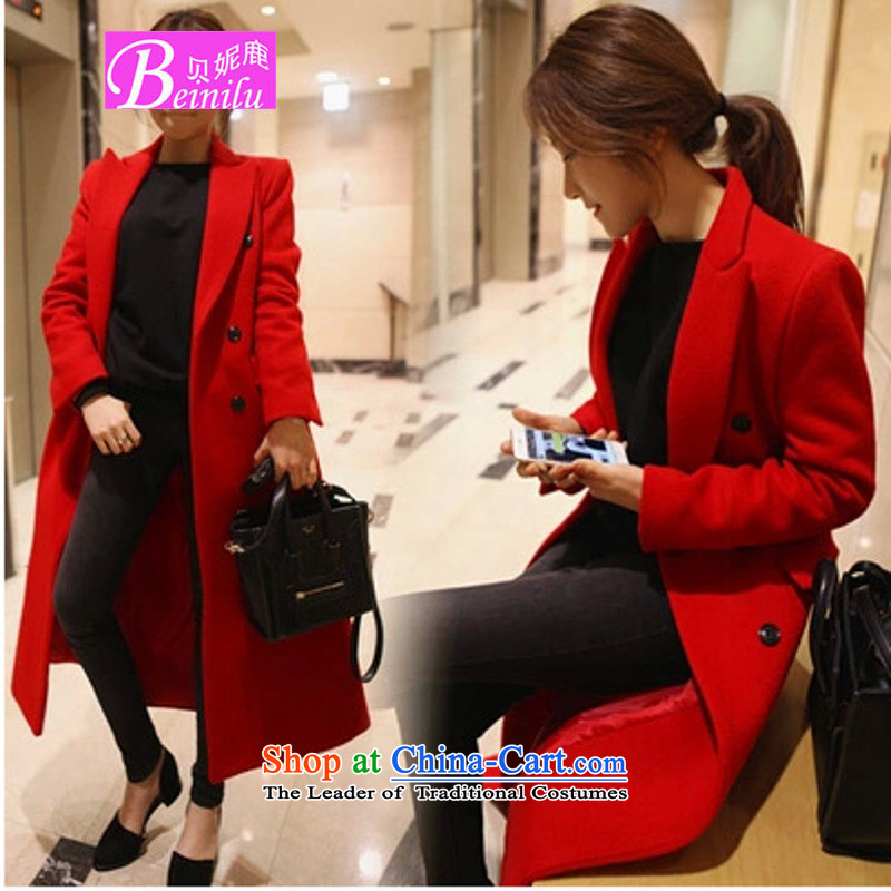 Connie Deer 2015 Addis Ababa autumn and winter load new ultra long a wool coat temperament was too long, thick Sau San Mao jacket? female Laptop redS