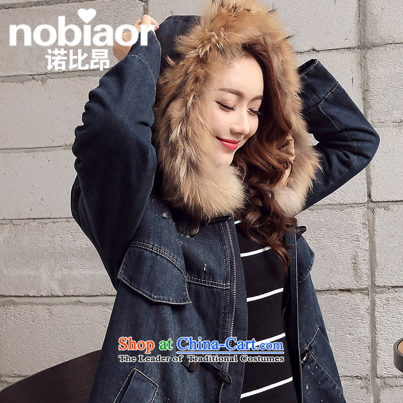 Maximum number of ladies thick mm fall/winter collections to intensify the loose thick plus lint-free cowboy gross Neck Jacket in long coat cotton coat 200 catties deep blue XXXXL Cowboy