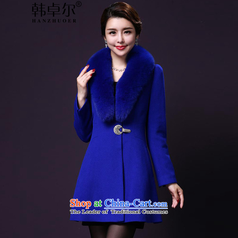 Korea's 2015 autumn and winter new luxury nagymaros collar jacket LA3588 gross? blue燲L