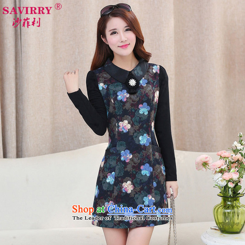 Sha Philip 2015 autumn and winter new larger female Korean fake two thick solid long-sleeved MM Sau San dressesX9252picture colorXL