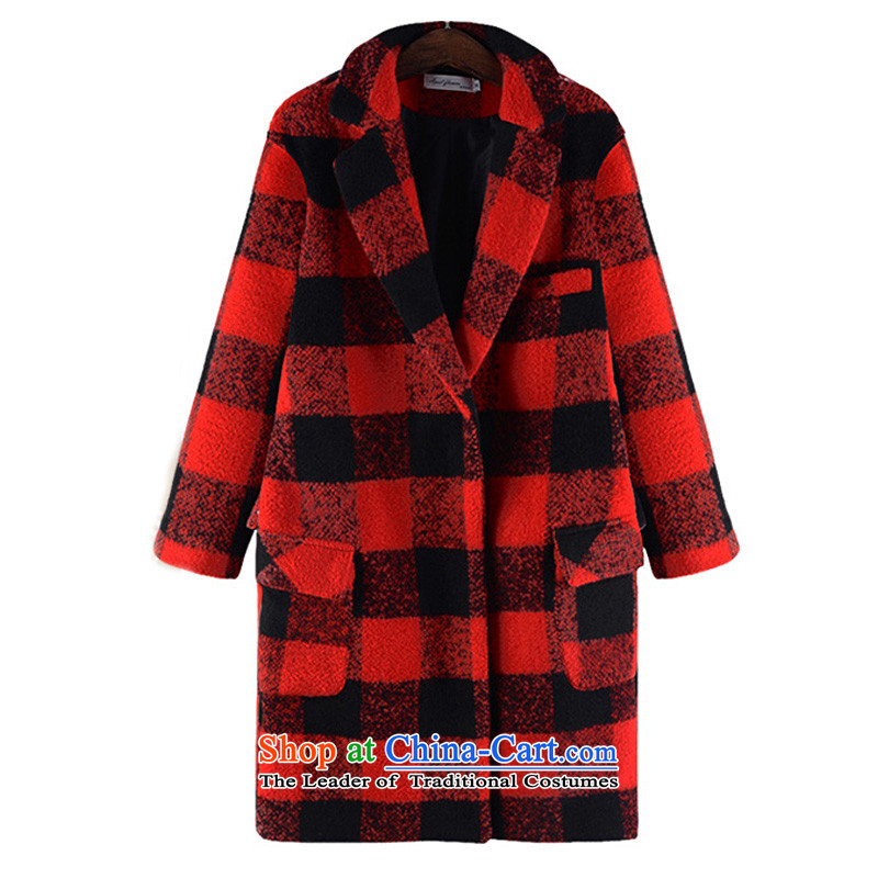 2015 mm thick xl women fall and winter�0plus obesity in sister Jin Long hair a large red jacket coat XXXXXL. code